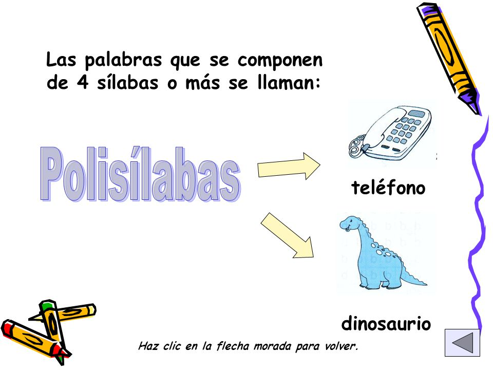 Polisílabas Las palabras que se componen de 4 sílabas o más se llaman: