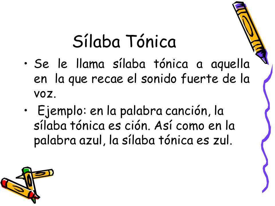 Sílaba Tónica Se le llama sílaba tónica a aquella en la que recae el sonido fuerte de la voz.