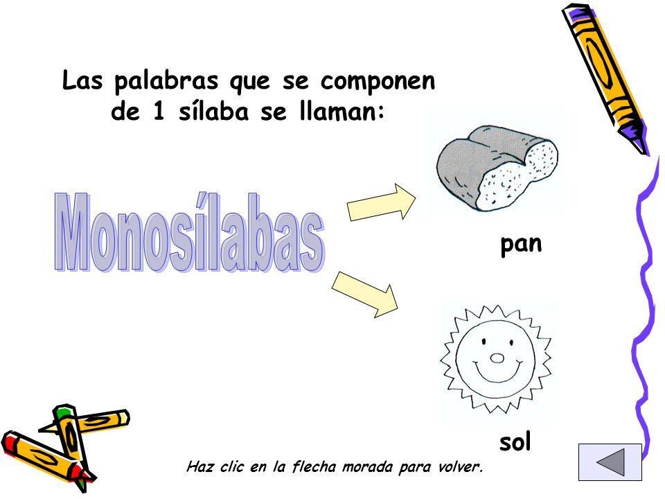 Monosílabas Las palabras que se componen de 1 sílaba se llaman: pan