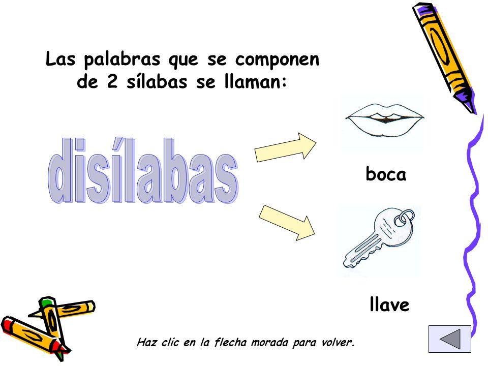 disílabas Las palabras que se componen de 2 sílabas se llaman: boca