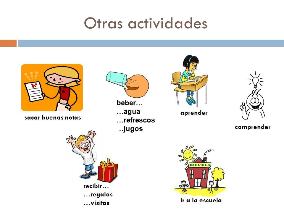 Otras actividades beber… …agua …refrescos aprender …jugos