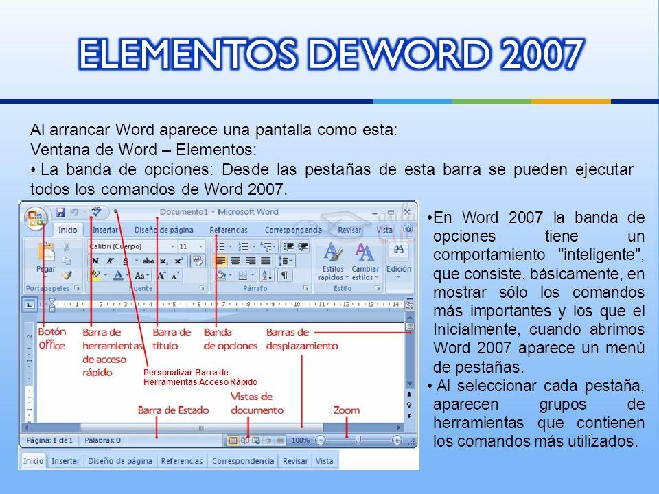 ELEMENTOS DE WORD 2007 Al arrancar Word aparece una pantalla como esta: Ventana de Word – Elementos: