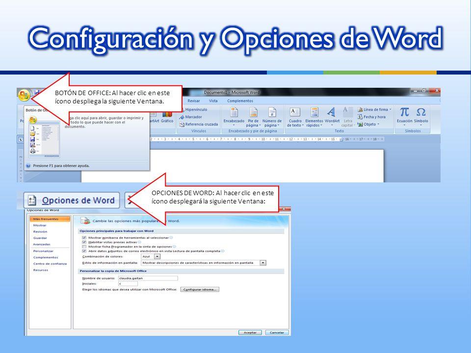 Configuración y Opciones de Word