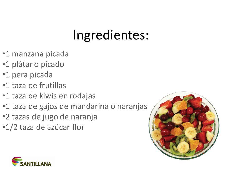 Ingredientes: 1 manzana picada 1 plátano picado 1 pera picada