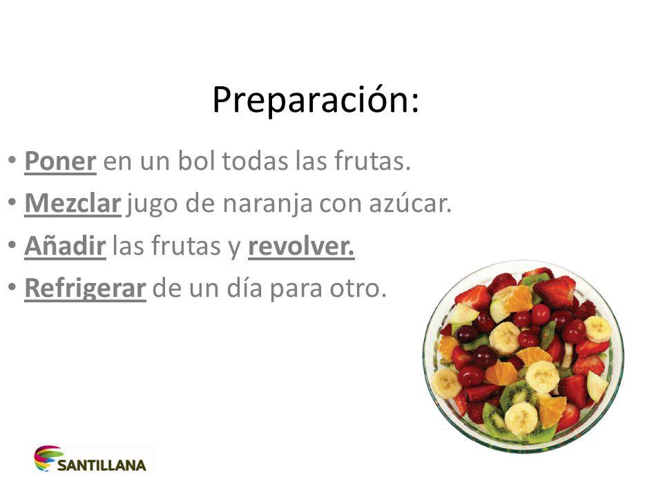 Preparación: Poner en un bol todas las frutas.