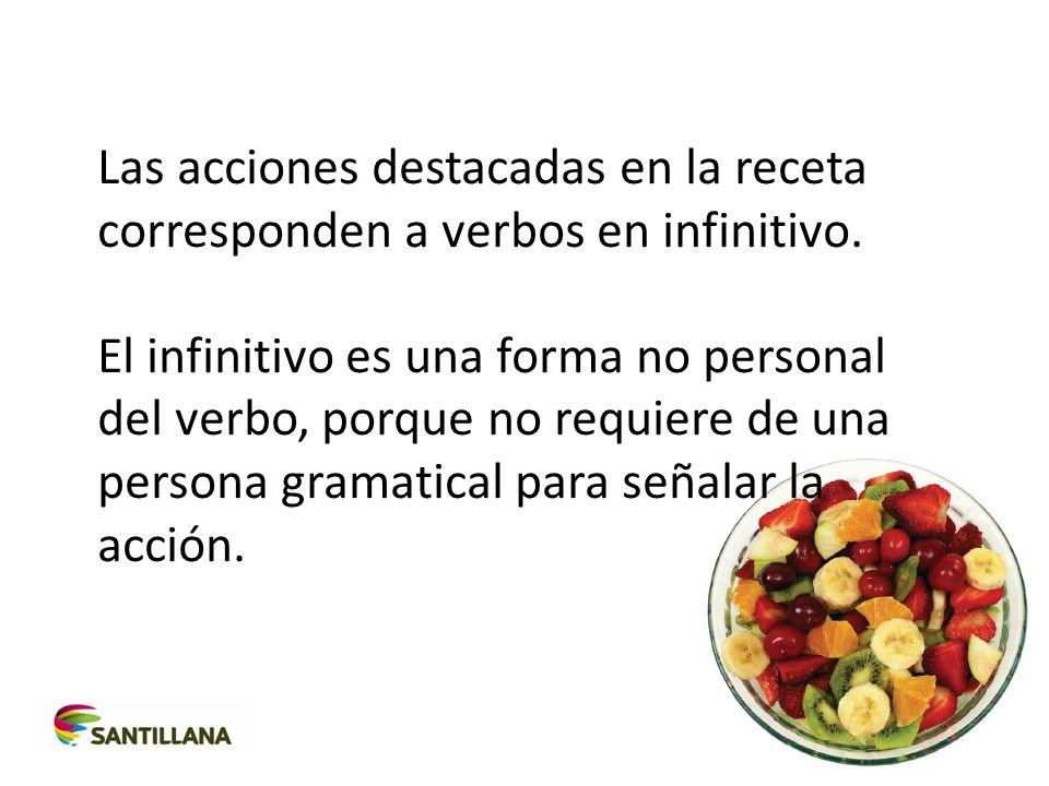 Las acciones destacadas en la receta corresponden a verbos en infinitivo.