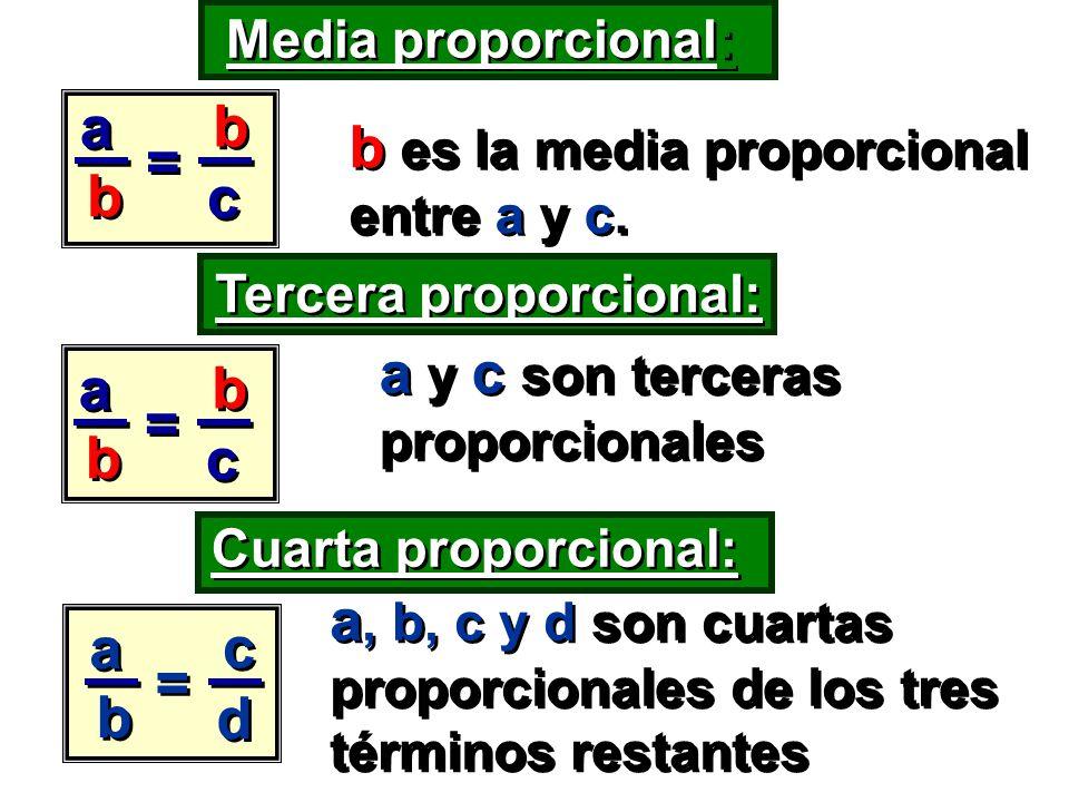 b es la media proporcional entre a y c.