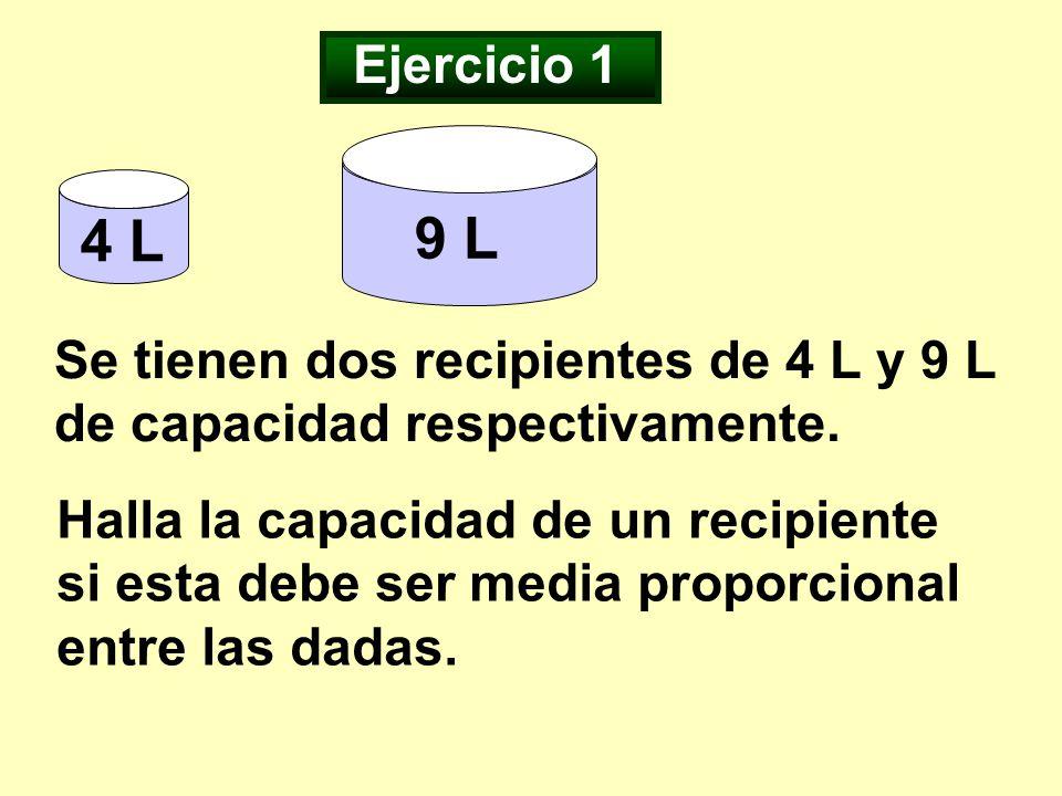 Ejercicio 1 9 L. 4 L. Se tienen dos recipientes de 4 L y 9 L de capacidad respectivamente.