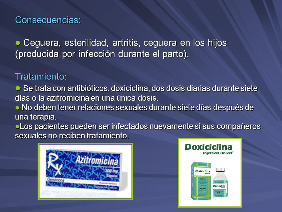 Consecuencias: Ceguera, esterilidad, artritis, ceguera en los hijos (producida por infección durante el parto).