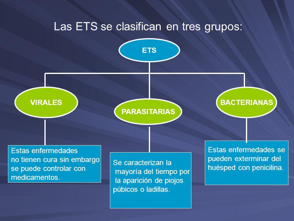 Las ETS se clasifican en tres grupos: