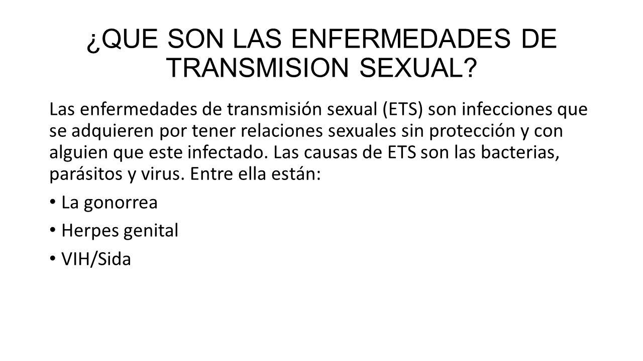 ¿QUE SON LAS ENFERMEDADES DE TRANSMISION SEXUAL
