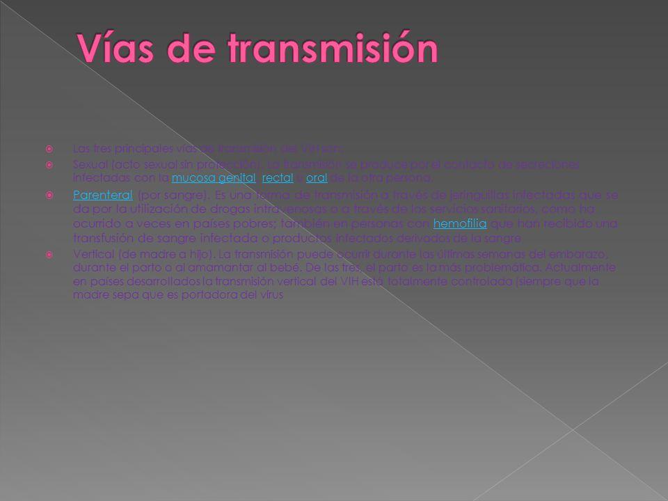 Vías de transmisión Las tres principales vías de transmisión del VIH son: