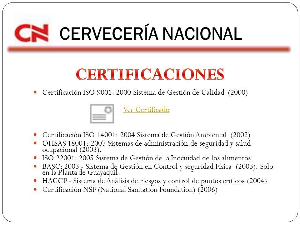 CERVECERÍA NACIONAL CERTIFICACIONES