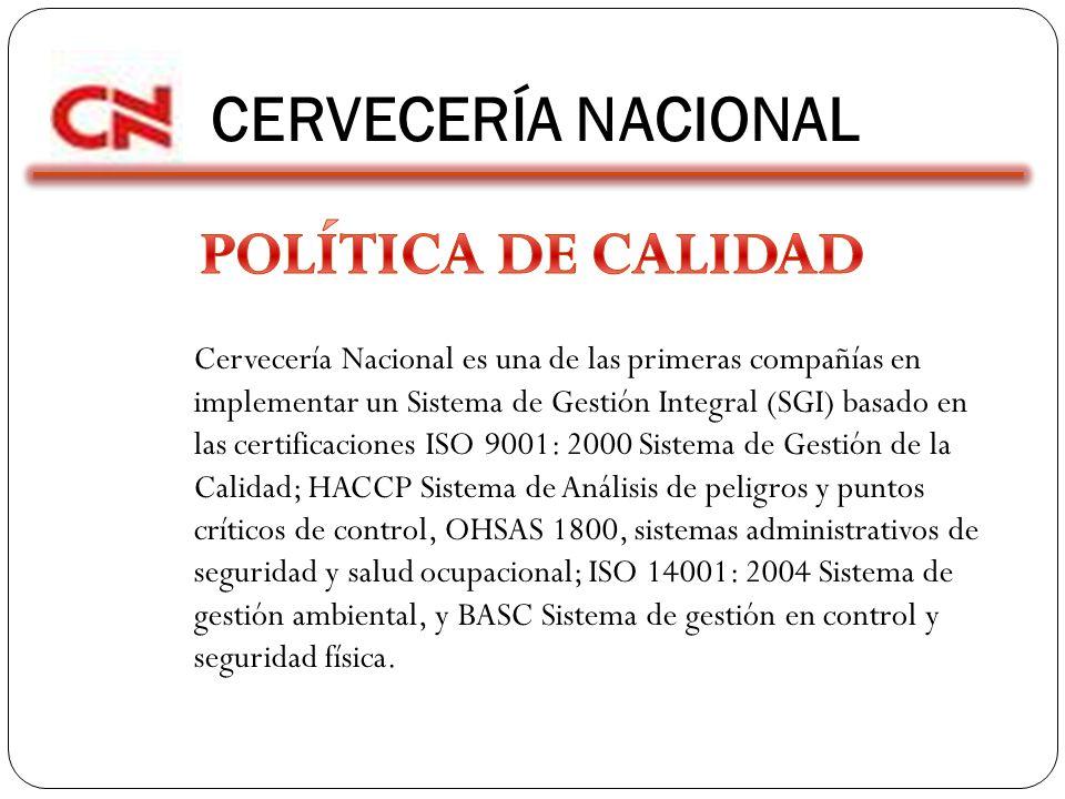 CERVECERÍA NACIONAL POLÍTICA DE CALIDAD