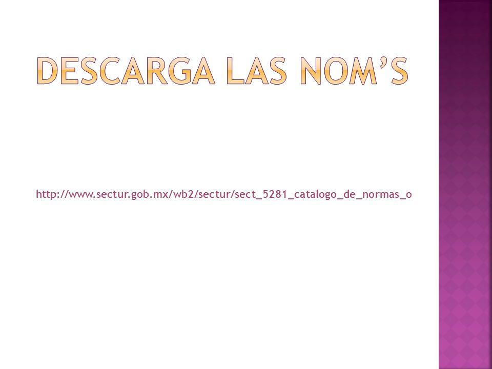 Descarga las nom's http://www.sectur.gob.mx/wb2/sectur/sect_5281_catalogo_de_normas_o