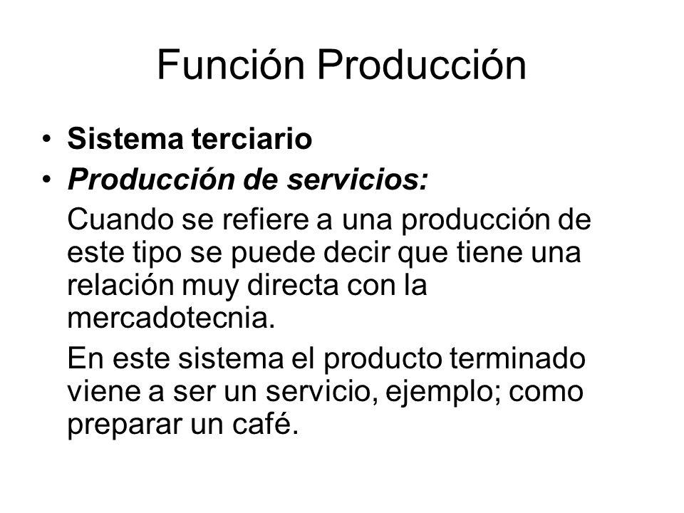 Función Producción Sistema terciario Producción de servicios: