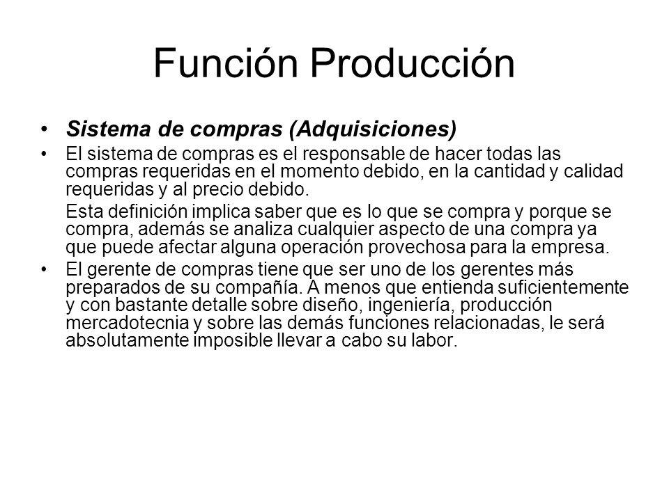 Función Producción Sistema de compras (Adquisiciones)