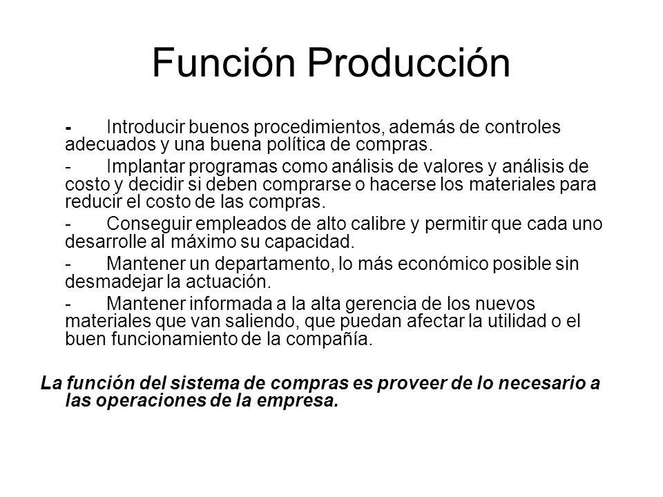 Función Producción - Introducir buenos procedimientos, además de controles adecuados y una buena política de compras.