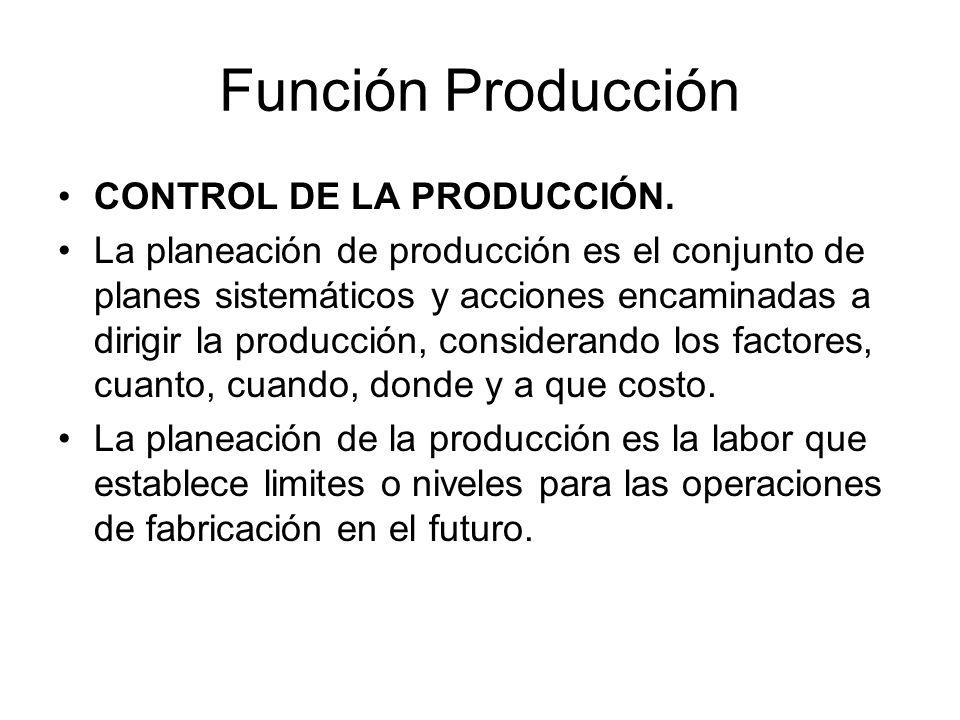 Función Producción CONTROL DE LA PRODUCCIÓN.