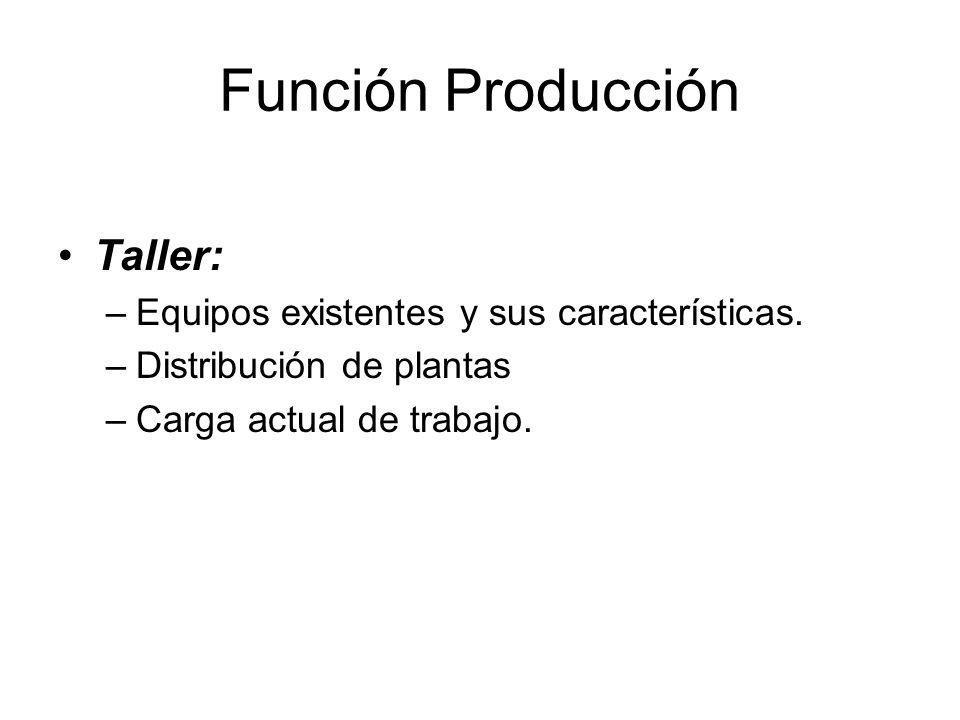Función Producción Taller: Equipos existentes y sus características.