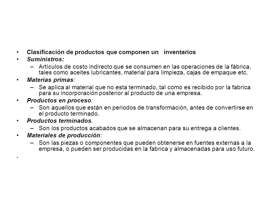 Clasificación de productos que componen un inventarios