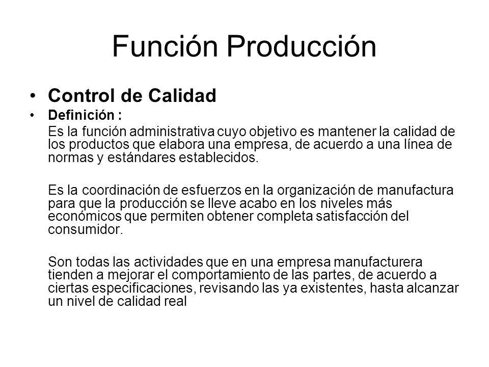 Función Producción Control de Calidad Definición :