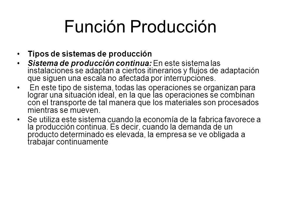 Función Producción Tipos de sistemas de producción