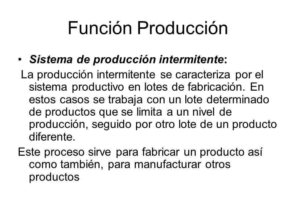 Función Producción Sistema de producción intermitente: