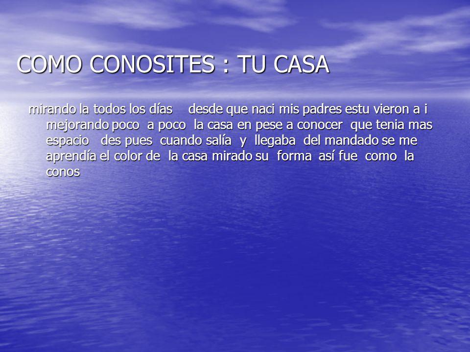 COMO CONOSITES : TU CASA