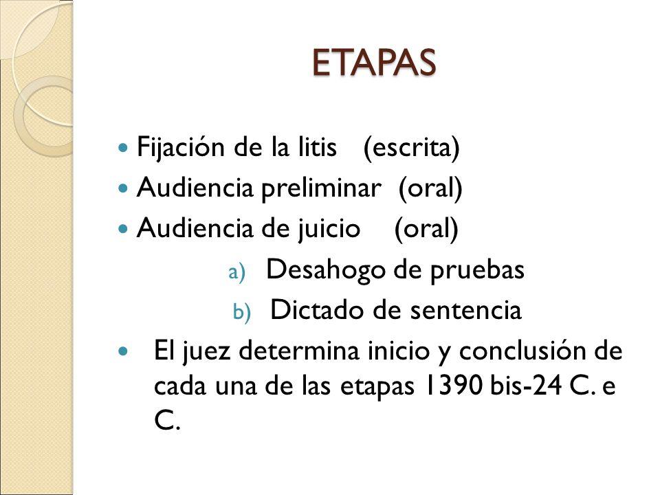 Juicio oral mercantil artculos del 1390 bis al 1390 bis 49 del c etapas fijacin de la litis escrita audiencia preliminar oral ccuart Choice Image