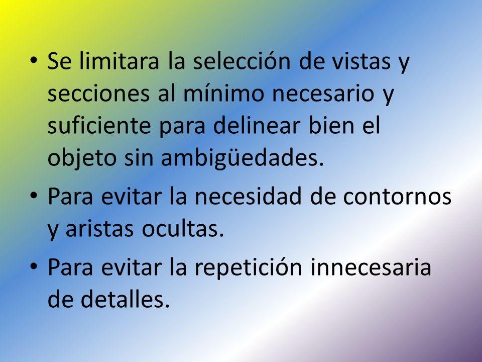 Se limitara la selección de vistas y secciones al mínimo necesario y suficiente para delinear bien el objeto sin ambigüedades.