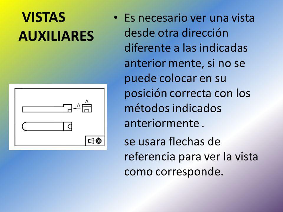 Es necesario ver una vista desde otra dirección diferente a las indicadas anterior mente, si no se puede colocar en su posición correcta con los métodos indicados anteriormente .
