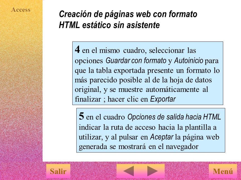 Creación de páginas web con formato HTML estático sin asistente