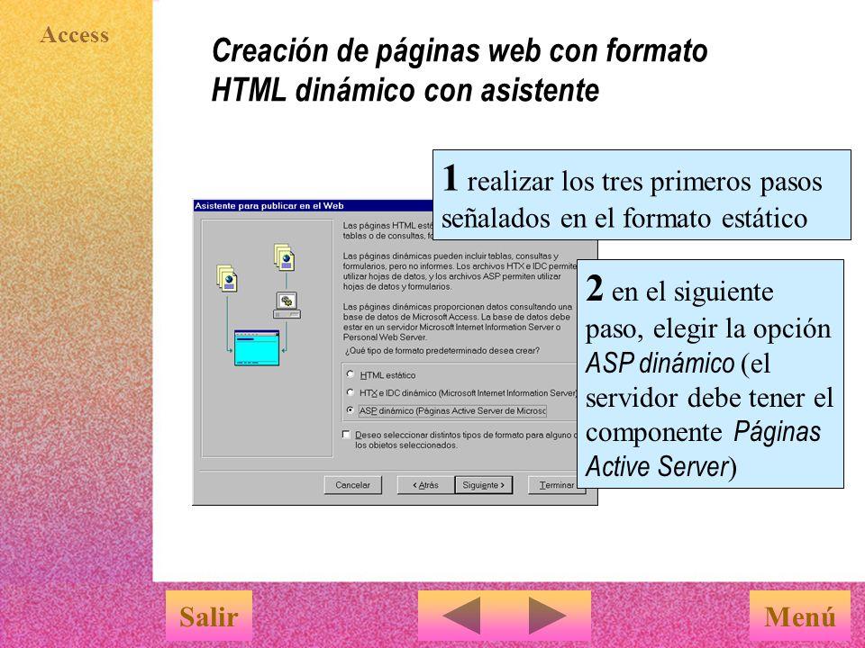Creación de páginas web con formato HTML dinámico con asistente