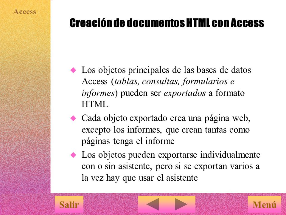 Creación de documentos HTML con Access