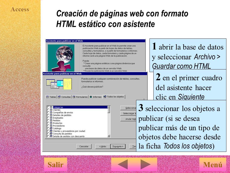 Creación de páginas web con formato HTML estático con asistente