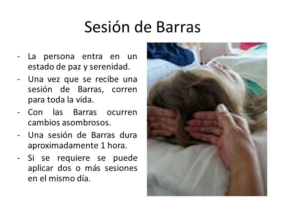 Sesión de Barras La persona entra en un estado de paz y serenidad.