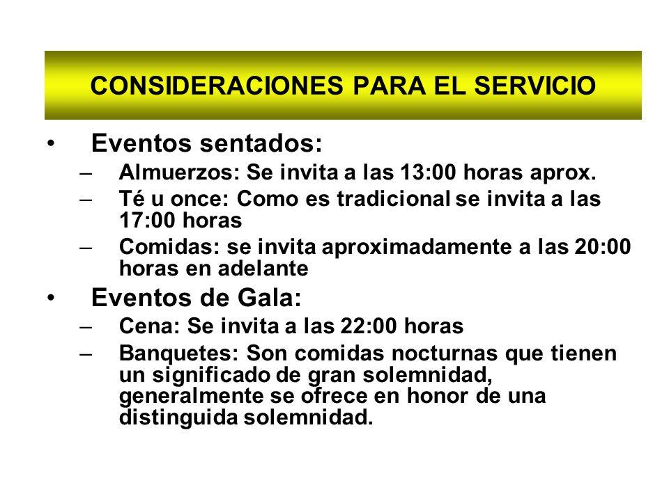 CONSIDERACIONES PARA EL SERVICIO