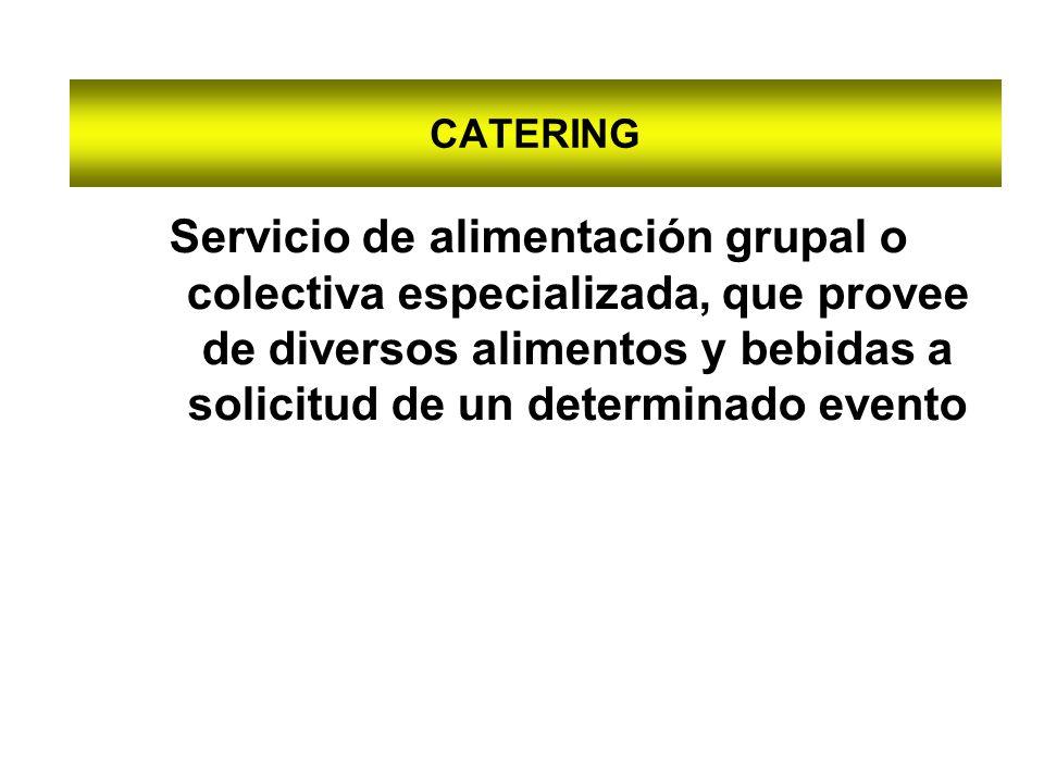 CATERING Servicio de alimentación grupal o colectiva especializada, que provee de diversos alimentos y bebidas a solicitud de un determinado evento.