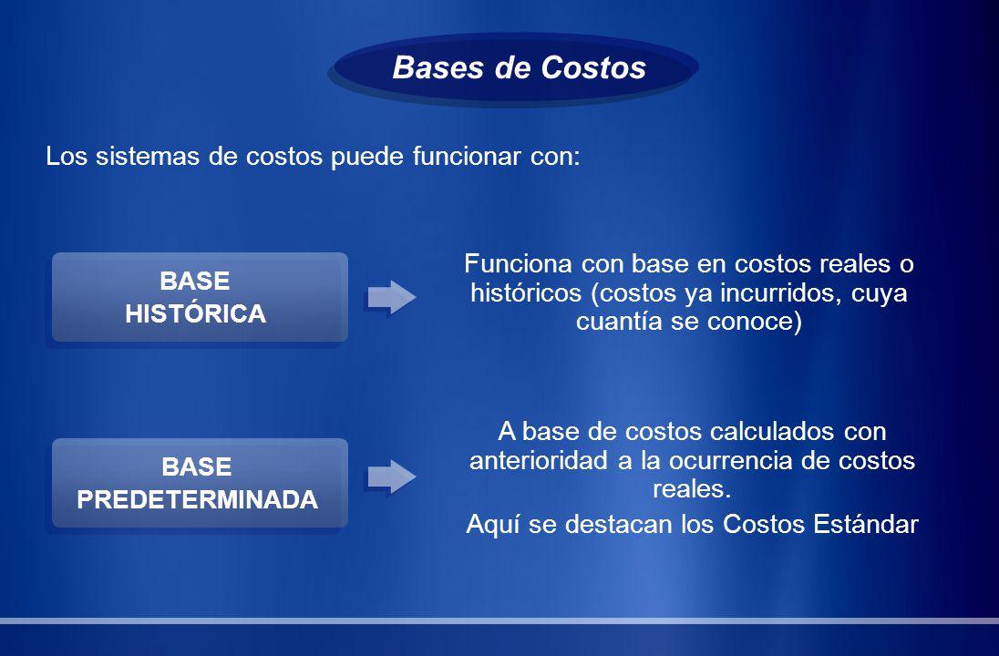 Bases de Costos Los sistemas de costos puede funcionar con: