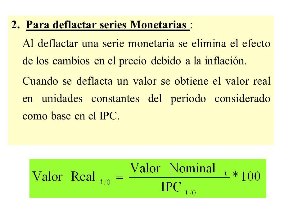 2. Para deflactar series Monetarias :