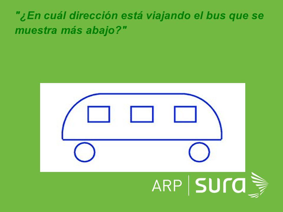 ¿En cuál dirección está viajando el bus que se muestra más abajo