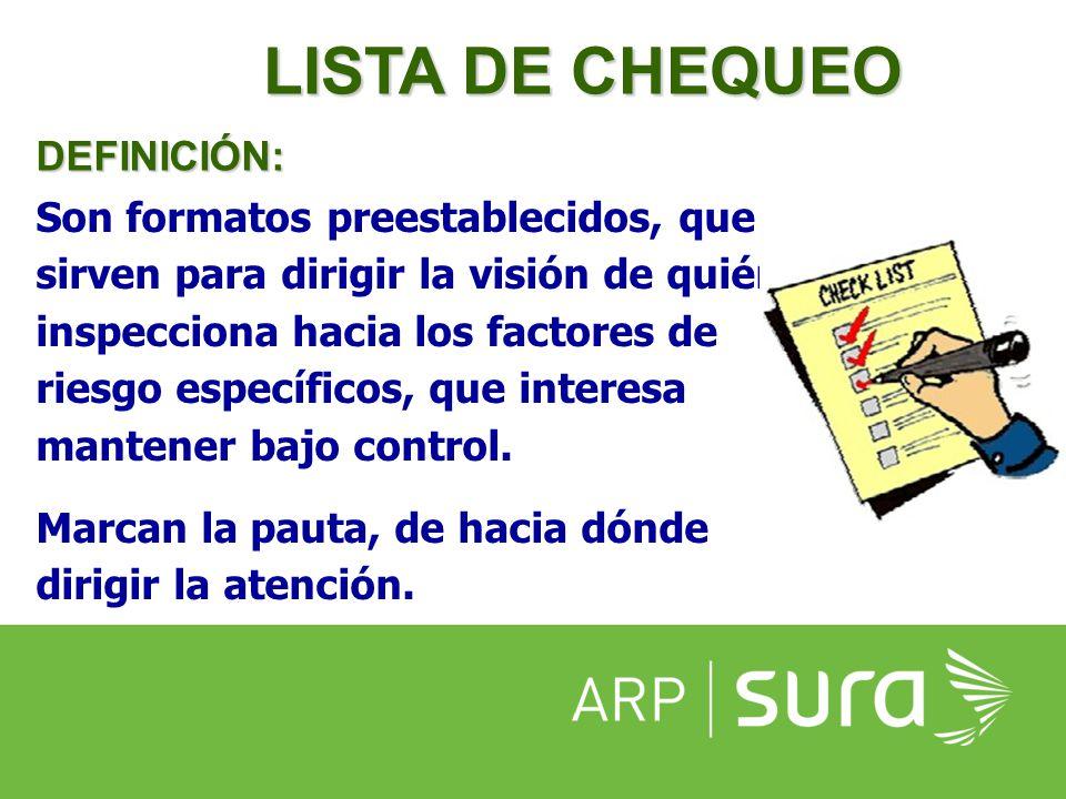 LISTA DE CHEQUEO DEFINICIÓN: