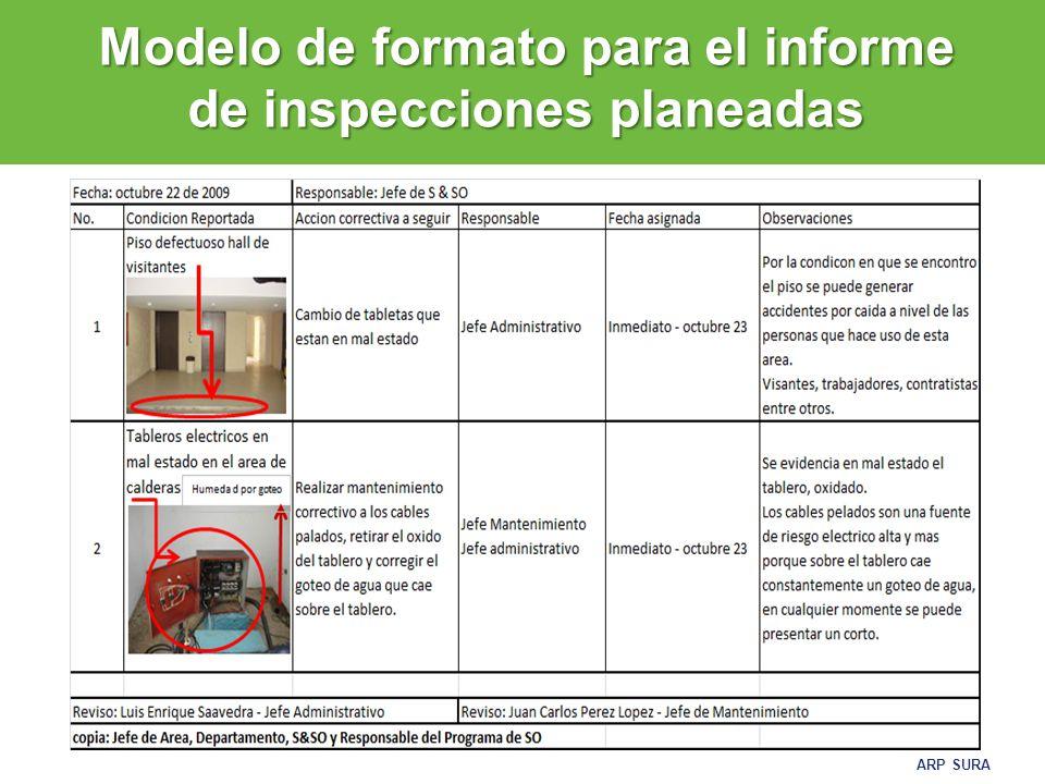 Modelo de formato para el informe de inspecciones planeadas