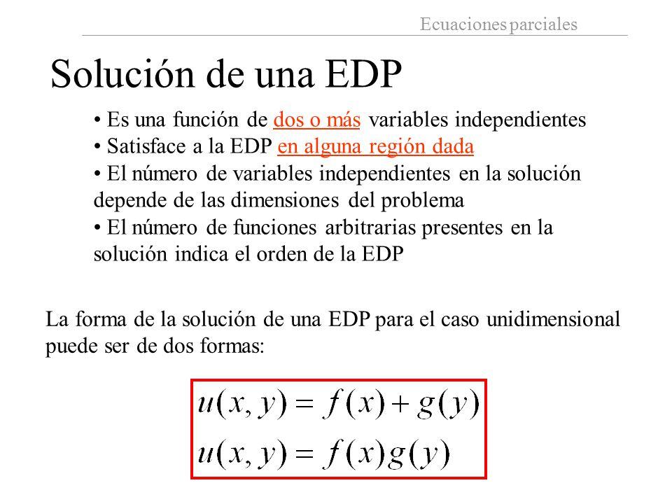 Solución de una EDP Es una función de dos o más variables independientes. Satisface a la EDP en alguna región dada.