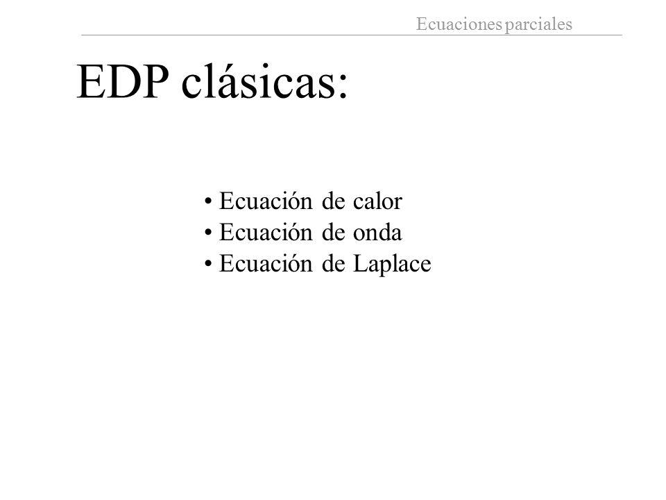 EDP clásicas: Ecuación de calor Ecuación de onda Ecuación de Laplace