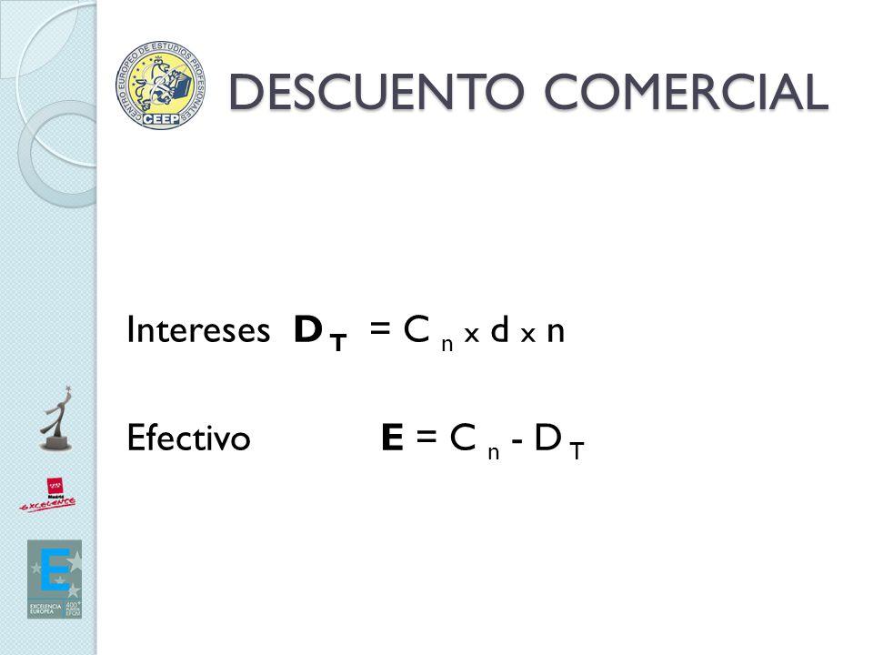 DESCUENTO COMERCIAL Intereses D T = C n x d x n Efectivo E = C n - D T