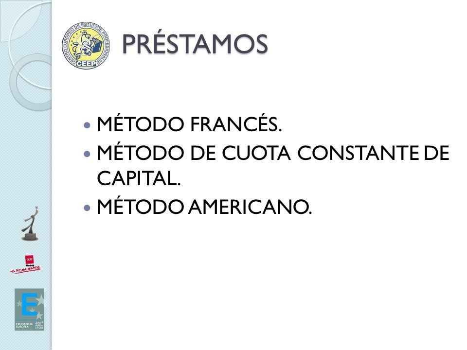 PRÉSTAMOS MÉTODO FRANCÉS. MÉTODO DE CUOTA CONSTANTE DE CAPITAL.