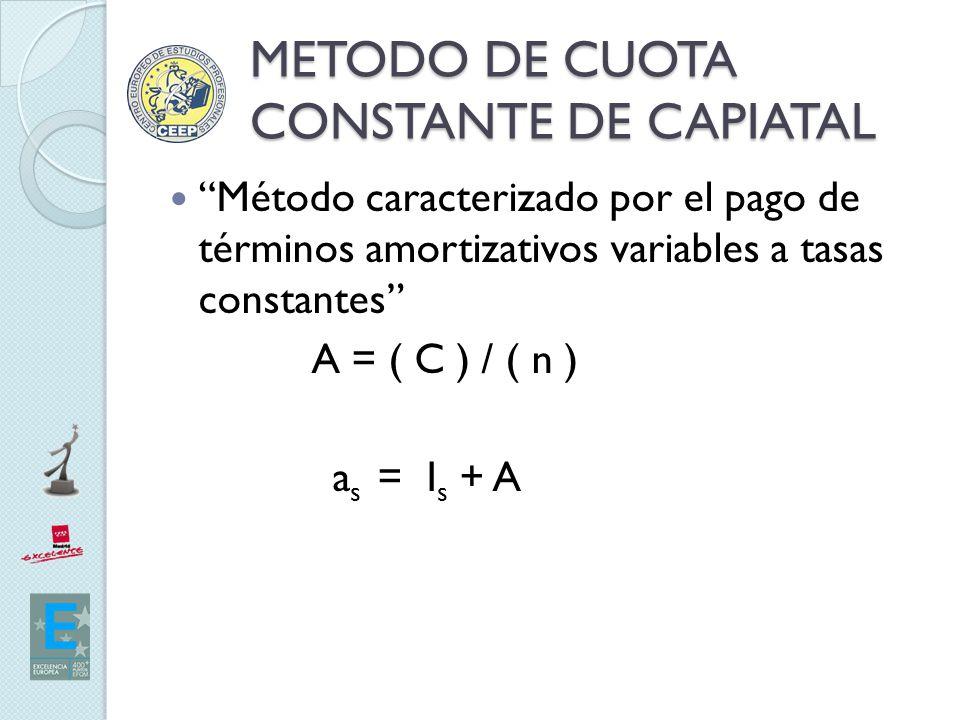 METODO DE CUOTA CONSTANTE DE CAPIATAL