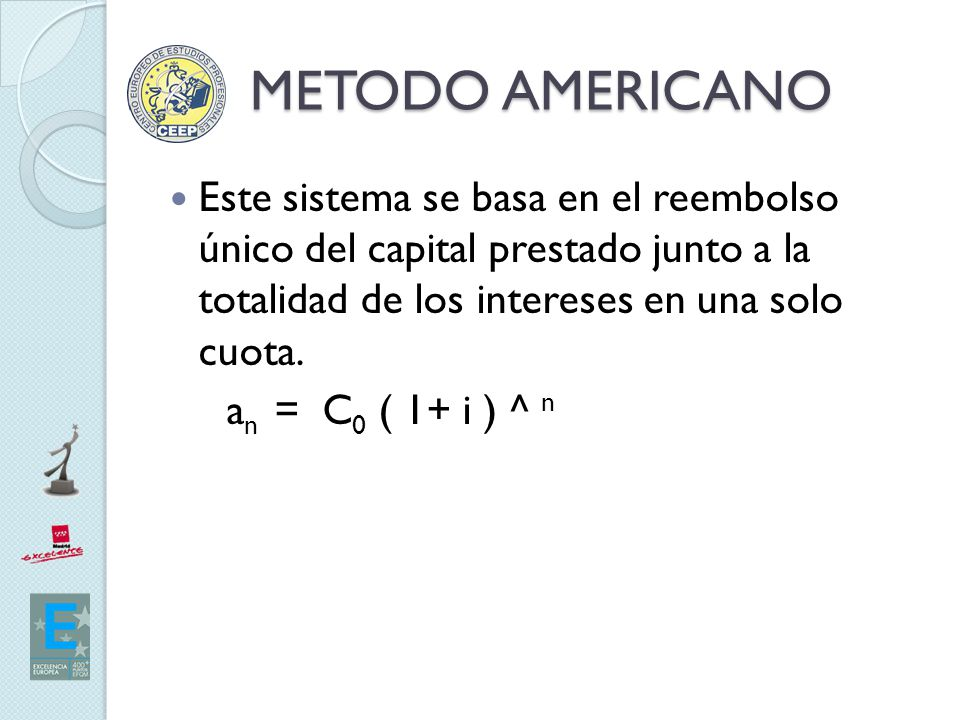 METODO AMERICANO Este sistema se basa en el reembolso único del capital prestado junto a la totalidad de los intereses en una solo cuota.